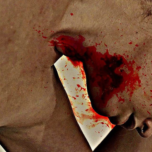 Chin, chin. . . . . . . . . #art #photography #photoart #artwork #stain #body #blood #bloody #red #artistsoninstagram #artist #photographer #instaartist #artwork #instaart #beauty #bodypositivity #arty #selfie #bodypositive #artofinstagram #artsy #smear #face #portrait #portraitphotography #chin #nude  #modernart #feministart #feminist