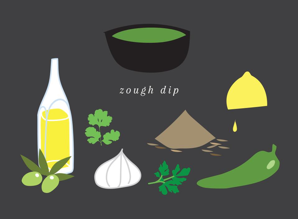 Zough dip   Fresh & tasty dip with fresh green sweet chili, parsley, cumin, garlic & lemon juice.