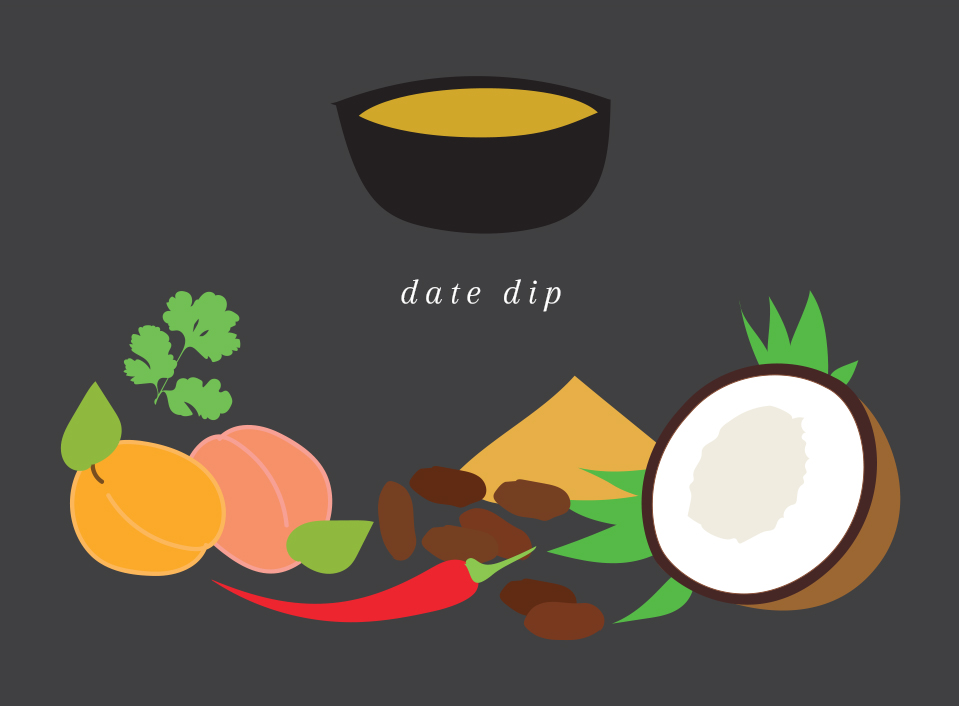 Date dip   Wonderfully flavored with dates, apricots, coconut milk, fresh cilantro, red chili & turmeric.