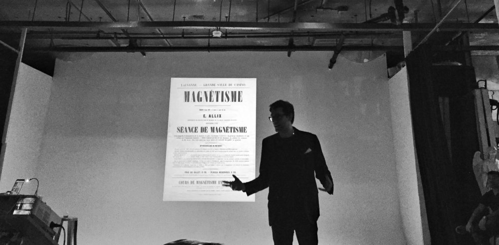 Dan offering a lecture on the history of medicinal trance, hypnosis, and hypnotherapy. For Atlas Obscura - Williamsburg, Brooklyn, 2015.