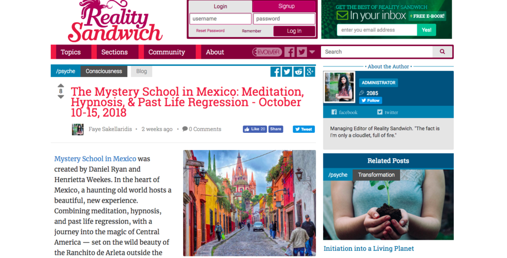 Click on the image above to read about the Mystery School on  Reality Sandwich.