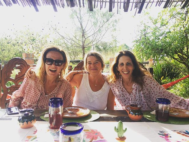Henrietta, Sanchia, and Cathy brightening the communal table. #mysteryschoolinmexico #meditation #hypnosis #pastliferegression