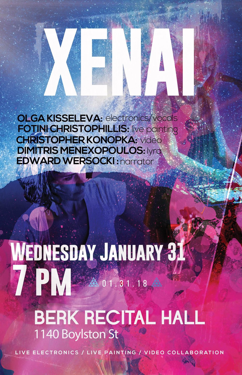 Wednesday / Jan 31, 2018 / 7pm - Xenai (Part 1 & 2) - Berk Recital Hall1140 Boylston StreetBoston, MA, 02215,USevent link...