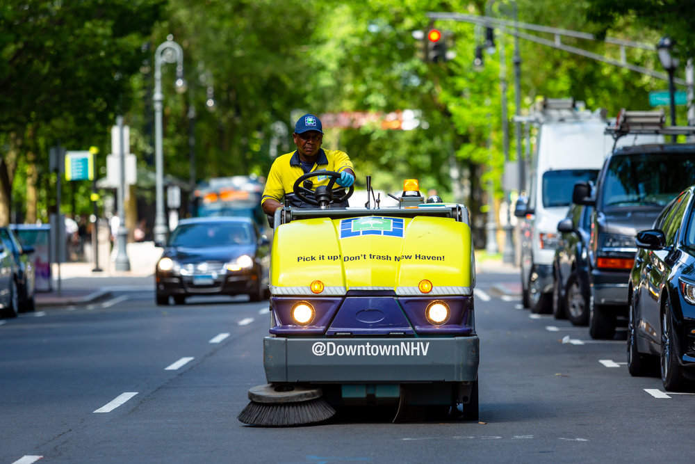 An investment made in 2016, Ambassadors spend evenings sweeping streets and sidewalks with the TenantS20 mini streetsweeper.