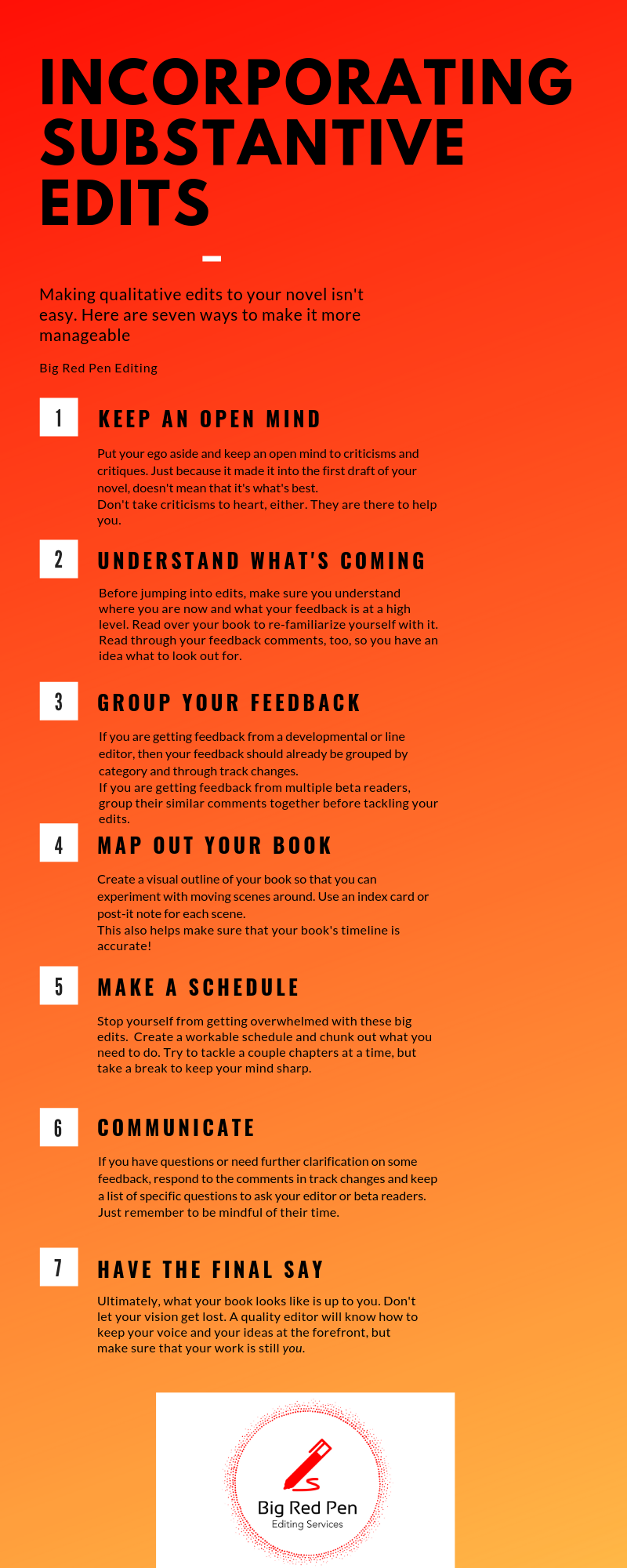 The seven ways to help incorporate your substantive edits