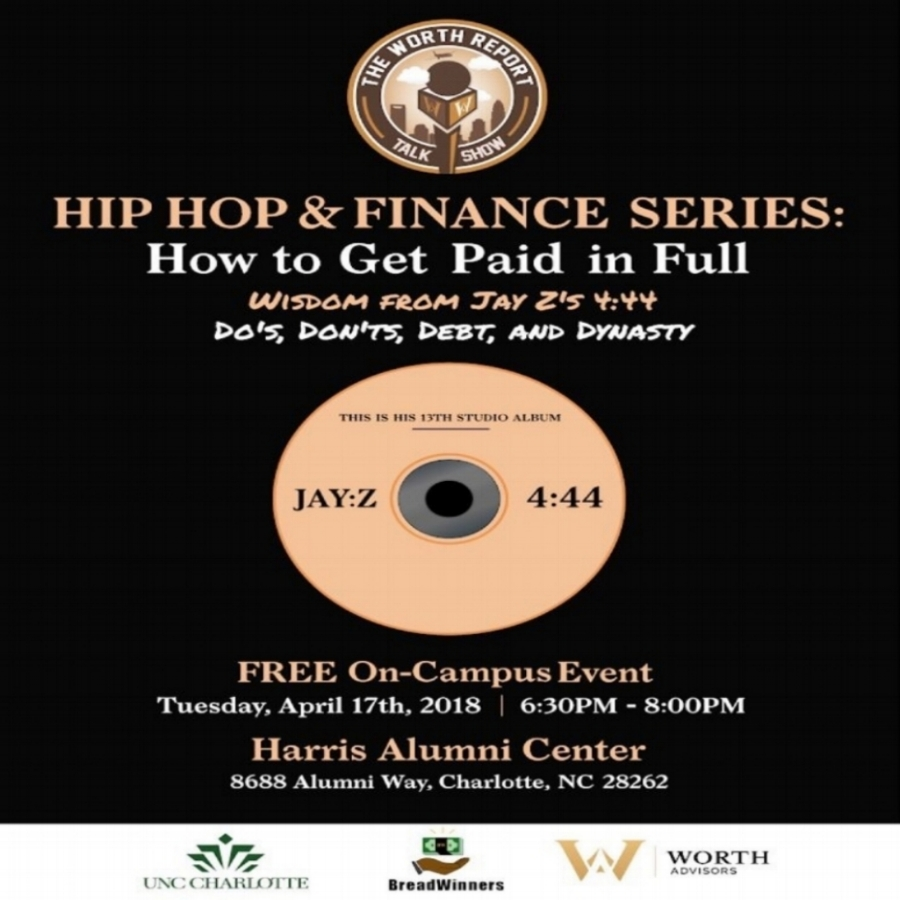 Hip Hop & Finance    We were able to partner with Worth Advisors for this amazing, creative event. During the event, we were presented with a mind-blowing breakdown of lyrics from Jay-Z's album  444  that all pertained directly to financial literacy. The lyrics were played then led to in-depth descriptions and discussions. The presentation made for a wonderful evening combining relevant music and knowledge to our generation.