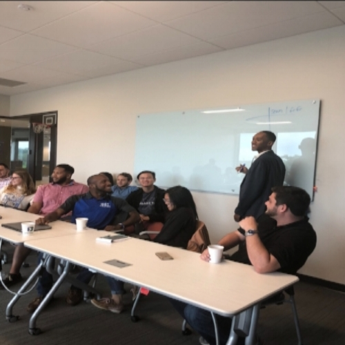 Mr. Chris Elmore of AvidXchange, a local billion dollar startup out of the Charlotte area, asked us to present with the interns working there over the summer. We sharpened up our Financial Jeopardy game and brought a mini basketball goal and ball to give the interns a shot at earning bonus points!