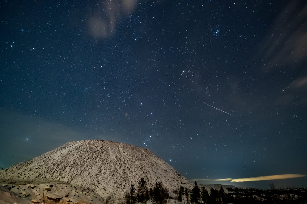 A meteor over the iron mine in Bjørnevatn