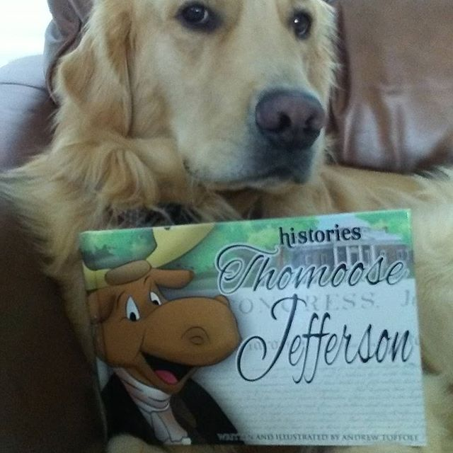 Our mascot, Cooper, and his favorite book... . . . . . . . .#goldenretriever  #love #cooper #doglovers #booklovers #Sunsetinternationalmdcps #family #community #education #elementaryillustration #book club #booklovers #reading #firstgrade #elementaryteacher #author #illustration #childrensbooks #historyeducation #elementaryart . #elementaryillustration #cartoons #historycartoon #creativebiography #creativeteachers #teachersgoals