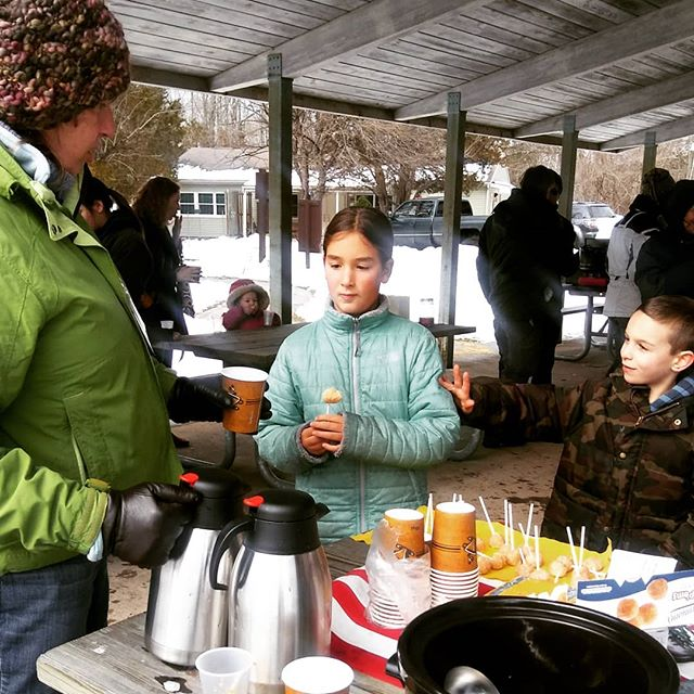 Hot cider and donut holes to dip into GENUINE WASHINGTON CROSSING maple syrup, at the Nature Center's maple sugaring event.
