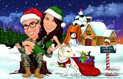 Couple Caricature - Christmas Gifts — Caricature Story - Gifts Shop