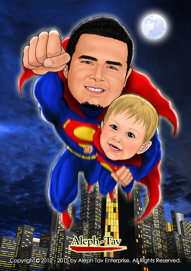 Dad and Son - Superhero theme.