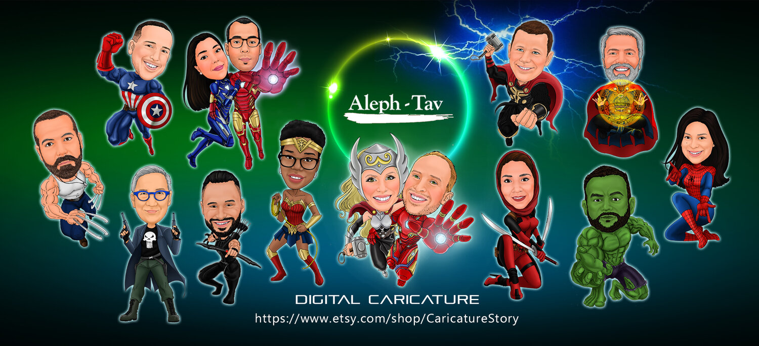 Caricature Story Gift Ideas Creative Unique Gift Of Personalize Digital Art Cartoon Portraits