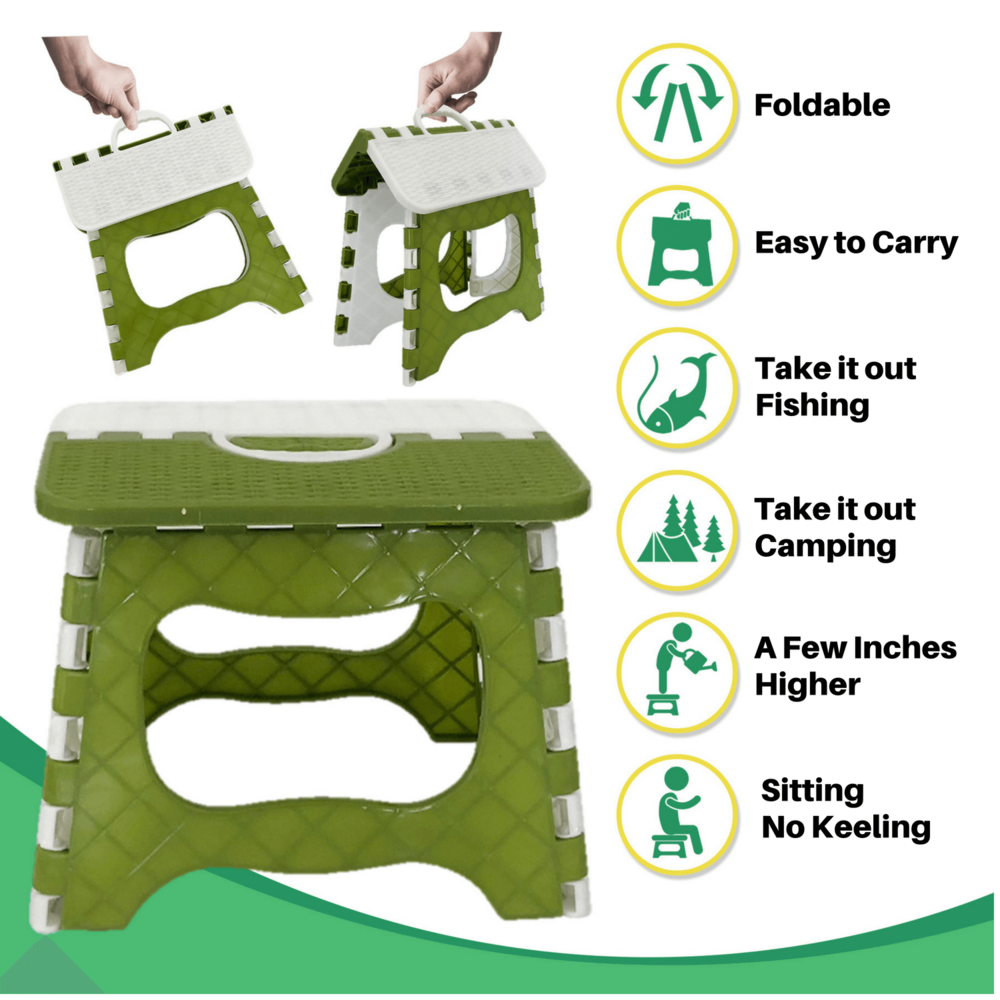 EASY TO CARRY FOLDABLE STEPPING STOOL BENCH CHAIR - Rigaorz   -Kneeling on the garden ground is no longer required with our foldable easy to carry stepping stool bench. Sit on it while gardening. Step on it when you or the little gardener need to reach a few more inches higher. You can also use it indoors for kids to step up to the toilet, take it camping, fishing and all the outdoor activities.