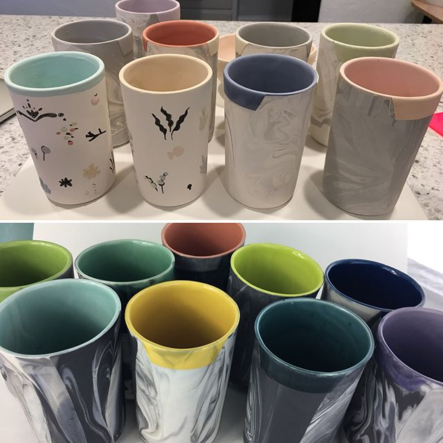 Before fire and after. Marbled cups with lip cozy. Kiln was good to me this time. 🤩 #ceramics #porcelain #amacoceladon #keramik #tallglass