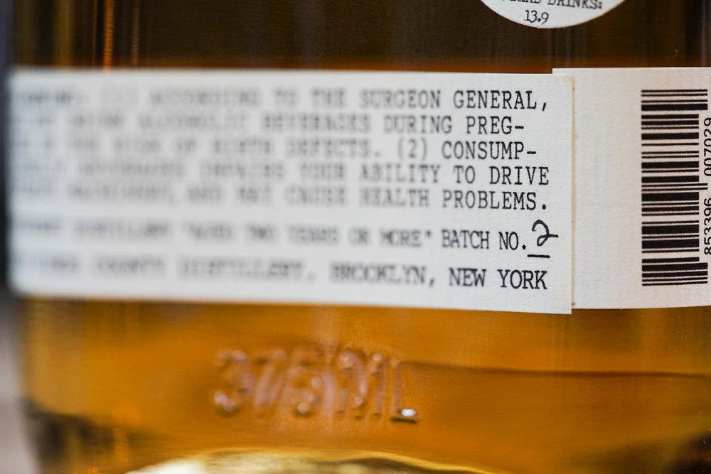 Kings County Single Malt Whisky Batch #2 Label