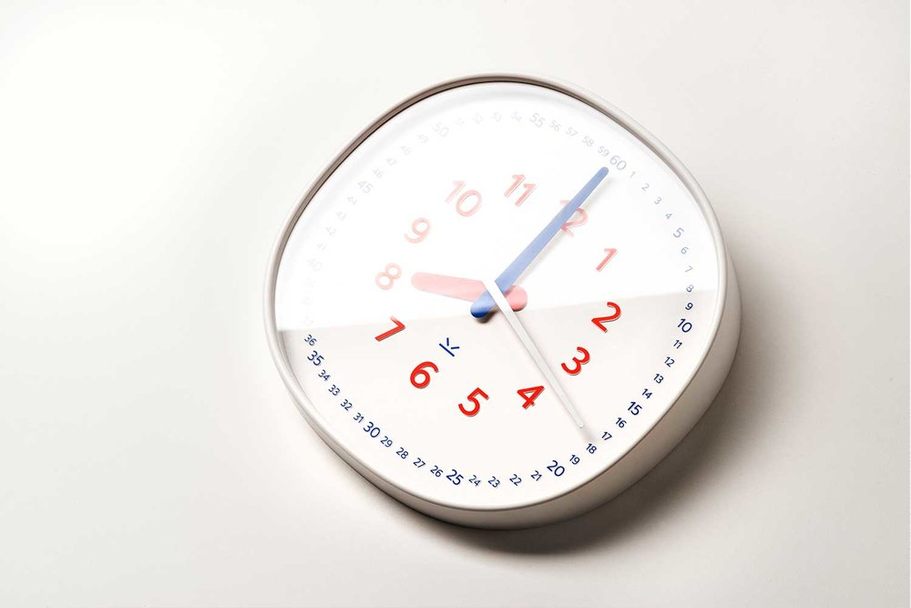 - Colored Clock HandsRed for hour hand, and blue for minute hand. Subtle but clear distinction.Acrylic Clock FaceStronger than glass, harder to break. We want to make sure it's safe for kids.