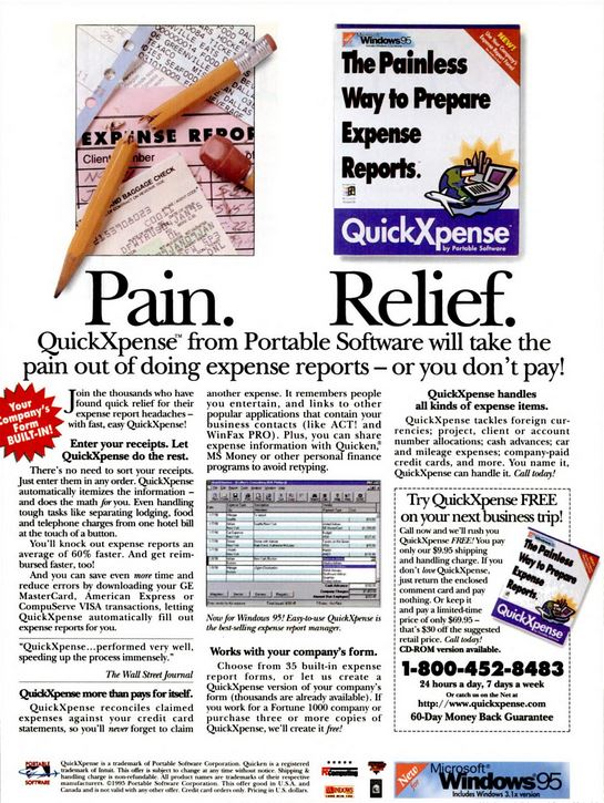 1994 print ad for QuickXpense, Concur's first application to operate under the name Portable Software. It appears mainly in the on-board magazines of major airlines and receives a great deal of attention from business travellers.