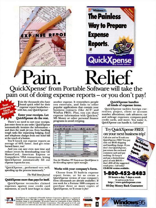 """Print-Anzeige von 1994 für QuickXpense, die erste Anwendung von Concur, das damals noch unter """"Portable Software"""" firmierte. Sie erschien vor allem in Bord-Magazinen großer Airlines und erhielt so viel Aufmerksamkeit von Geschäftsreisenden."""