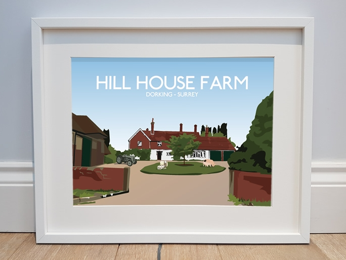 Illustration of Hill House Farm, Dorking, Surrey.