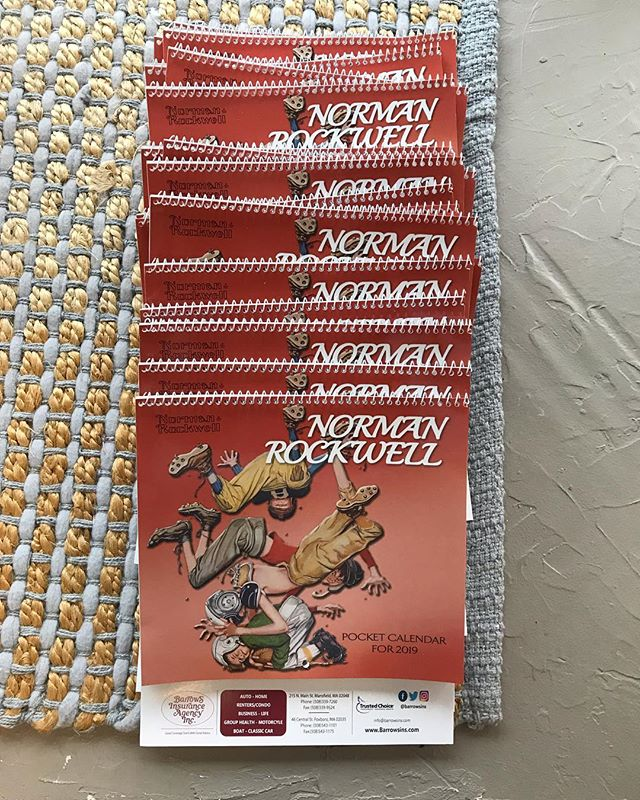It's that time of year again...CALENDAR TIME!! The smaller, Norman Rockwell, calendars are in, with our classic, New England & America Remembered calendars on their way. If you would like one please stop by or let us know!