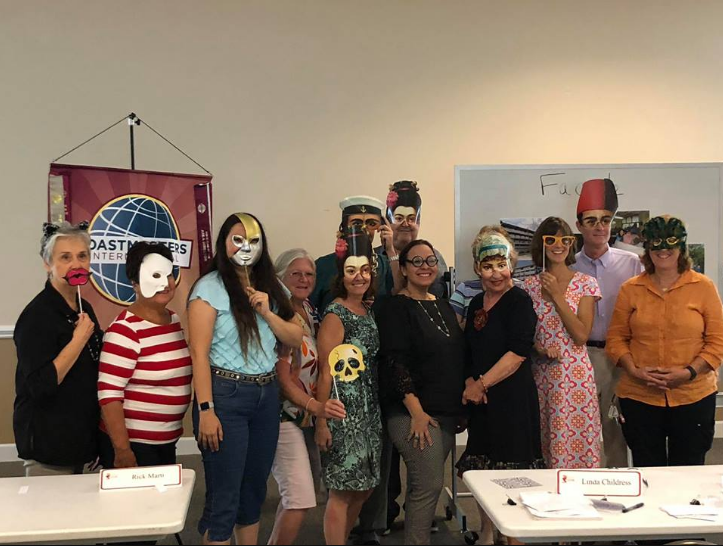 """""""This is a good one from one of our  Palm City Orators  meetings. Linda Childress arranged for the masks and theme"""" via  Facebook"""