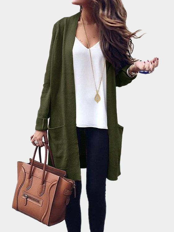 Yoins - Army Green Side Pockets Open Front Knit Cardigan $27.95
