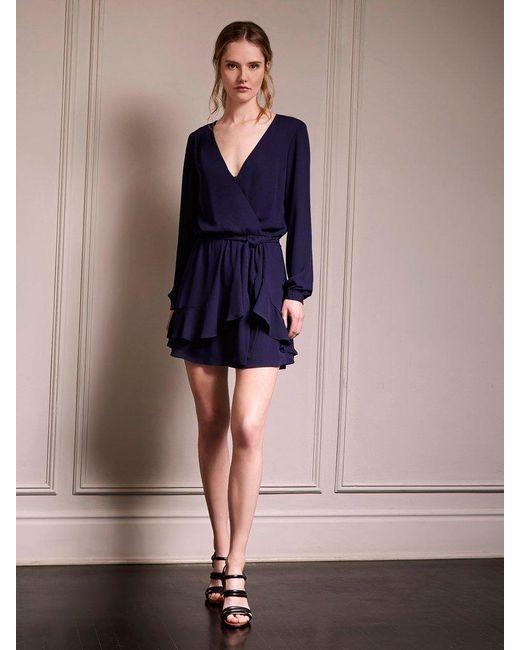 Lyst - Krisa Women's Blue Ruffle Wrap Mini $198