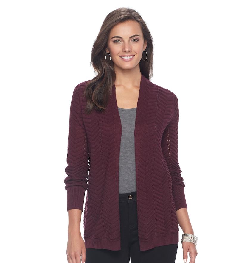 Women's Apt. 9® - Chevron Open-Front Cardigan Sweater (similar) $21.99