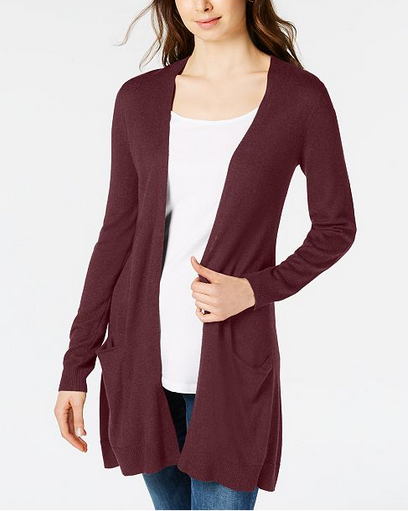 Maison Jules - Long Open-Front Jersey Cardigan $19.98
