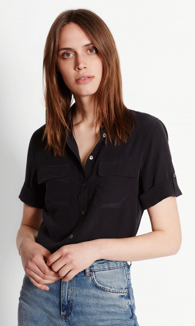 Equipment - Short Sleeve Slim Signature Silk Shirt $198