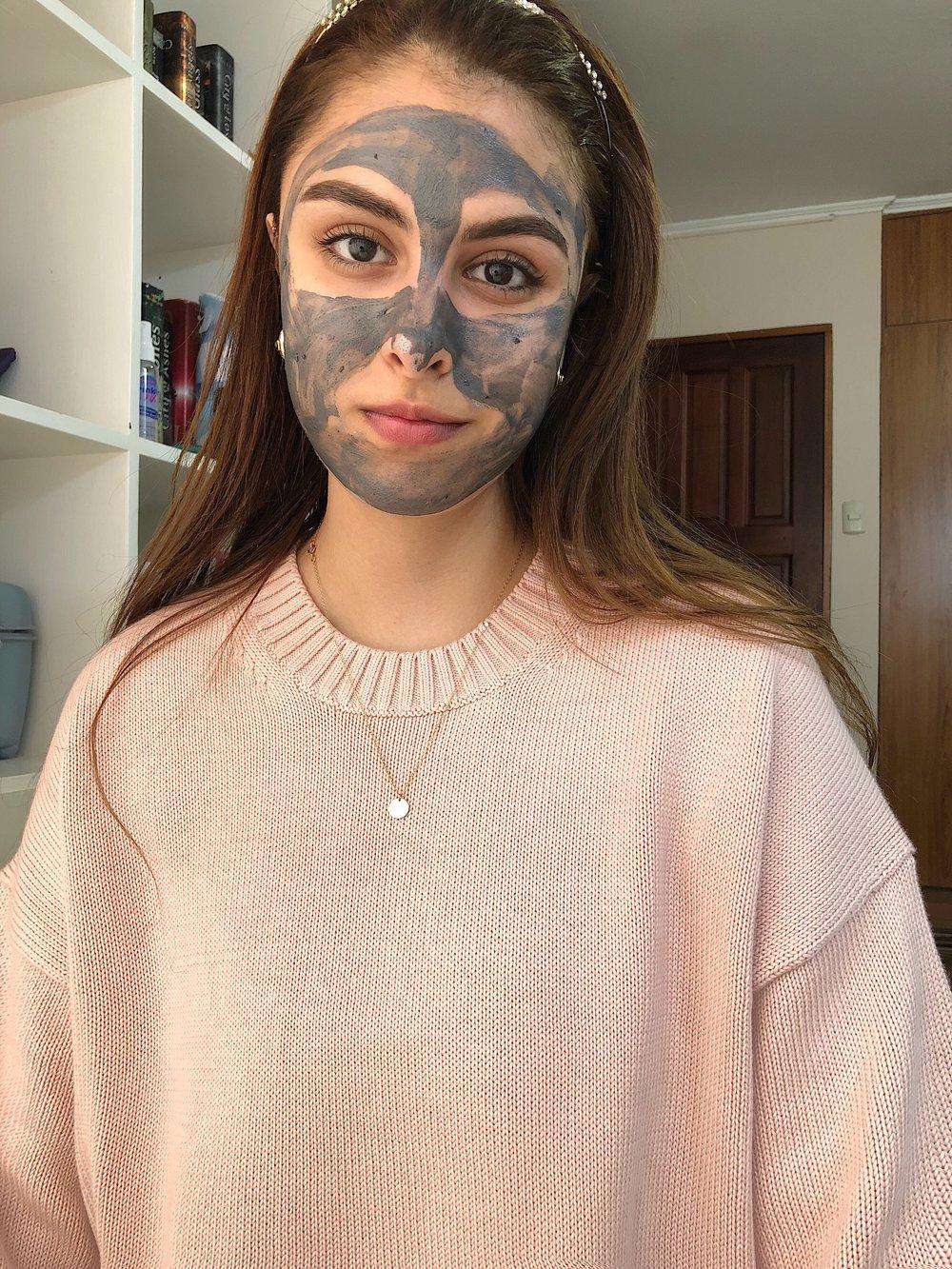 GlamGlow  mask/   Sweater:  Everlane