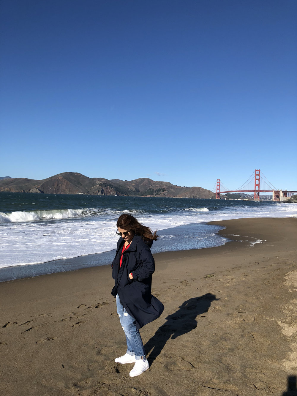 Freezing my butt off at Baker Beach