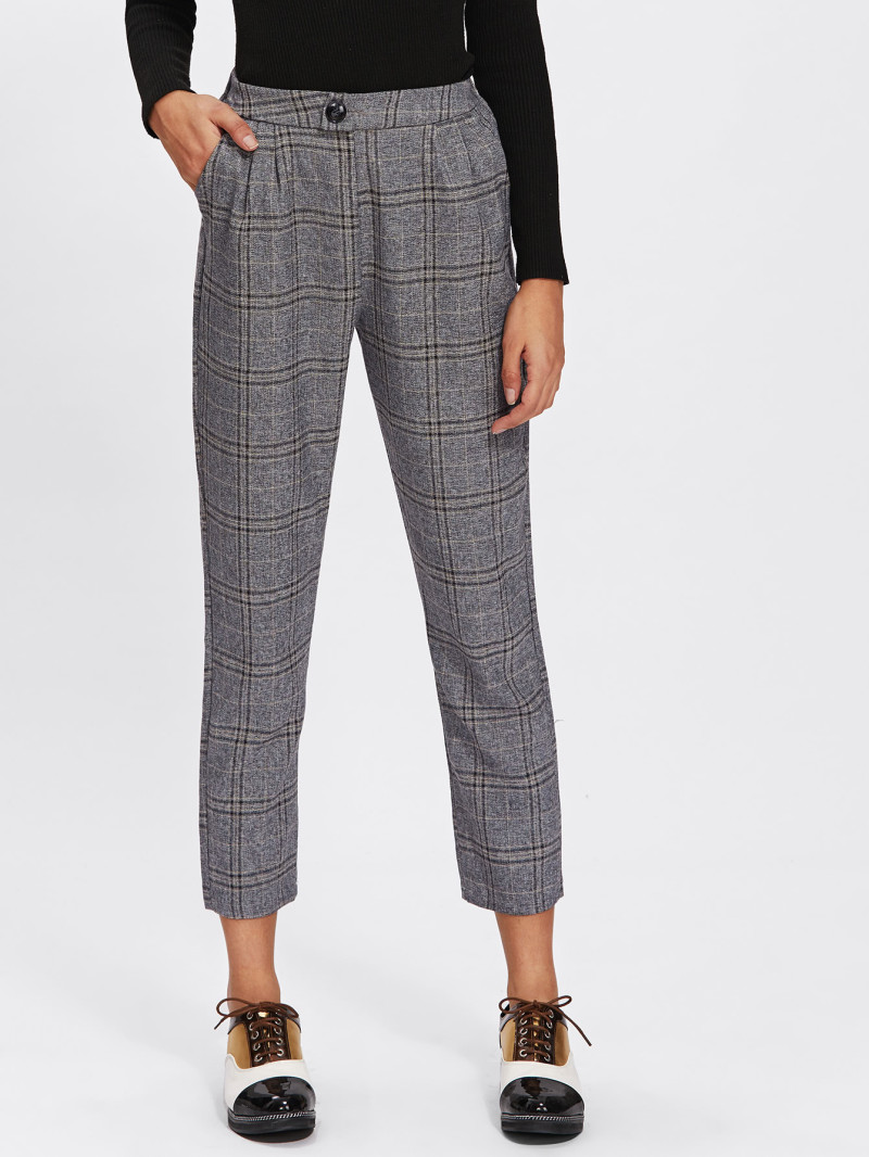 Romwe - Button Detail Plaid Crop Pants (similar)