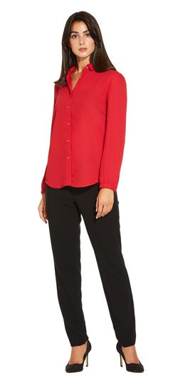 Adrianna Papell - Long Sleeve Fluid Button Down Shirt with Curved Hemline (similar color) $49.99