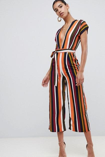 Boohoo - Stripe Plunge Jumpsuit $46.00