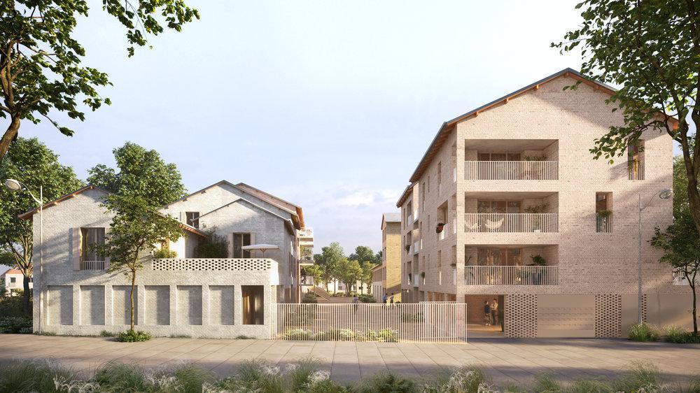 Projet lauréat, Plaine Montjean,Rungis - Le groupement Palast + Echelle Office + Guinée Potin est lauréat du concours pour la construction de 90 logements pour Valophis sur l'agroquartier de la plaine Montjean à Rungis.