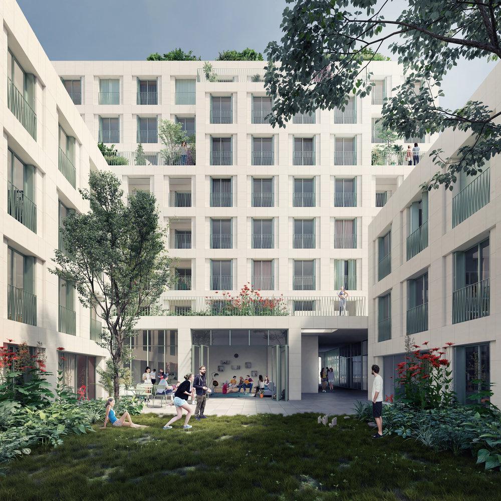 Concours, Co-living à Clichy la Garenne - Des images du concours pour une résidence de Co-living de 3000m² à Clichy la Garenne pour Galia Promotion.