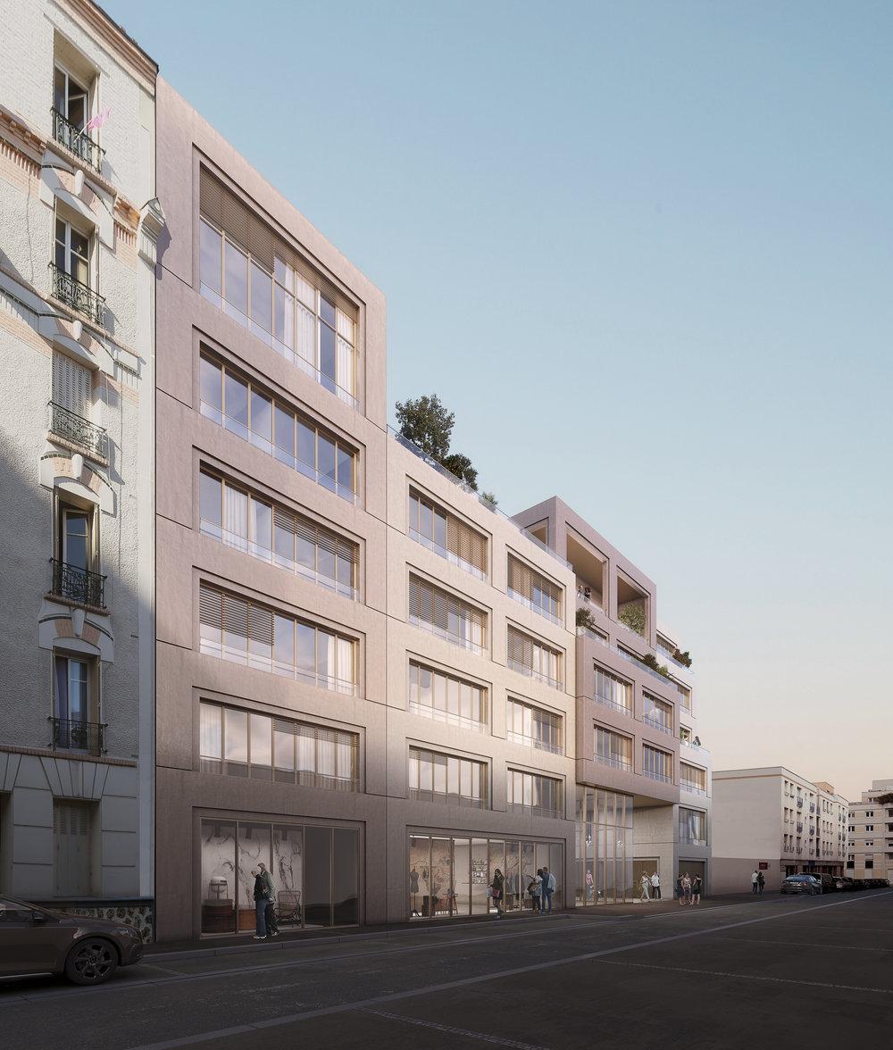 Projet lauréat, 30 logements, Boulogne (92) - Palast est lauréat du concours pour la construction de 30 logements sociaux, un local artisanal et la réalisation d'un jardin rue Esnault Pelterie à Boulogne Billancourt pour OPH Haut-de-Seine.