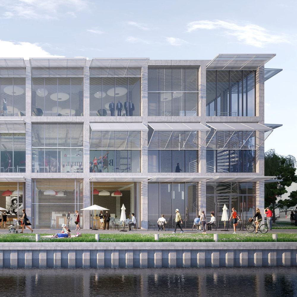 """Phase Finale Inventons la Métropole - Des images du projet """"Les docks de l'Ourcq"""" sur le site Ecoparc ZAC Ecocité à Bobigny avec le groupement Linkcity+ SCAU+Palast"""