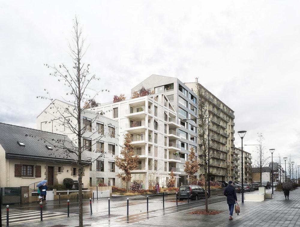 47 Logements,Rennes Alma - Programme: Construction de 47 logements 3000m² (SDP)Maîtrise d'ouvrage: Réalités Promotionmaîtrise d'oeuvre : palast (mandataire) + ALBDO (HQE FLUIDES) + Vert Latitude (Paysage)mission: mission de basemontant travaux: 4.3M € HTLieu: rue de l'Alma, RennesCertification: NF Habitat HQEcalendrier : lauréats du concours déc 2018, APS en courscrédit perspectives : Metrochrome (perspective)
