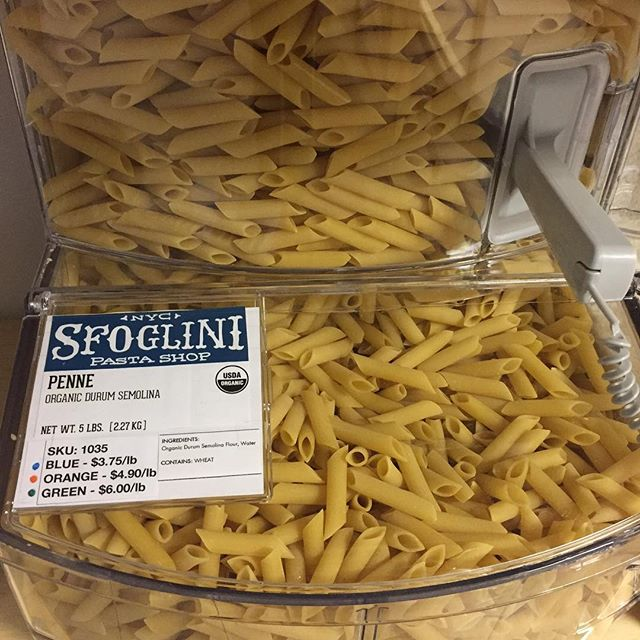 Did you know that we carry @sfoglini pasta in bulk? We've got two kinds - the organic durum semolina penne and the organic spelt fusilli! The folks at Sfoglini are producing their pastas just across the river in Coxsackie and use really good ingredients - excited to be stocking their products🍝! We're open until 7pm today. #hudsonny #columbiacountyny #coxsackieny