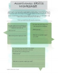 Assertive Training Worksheet   Assertiveness training is the act of learning to practice to more assertive. All relationships require a certain level of assertiveness. This worksheet is intended to help you with practicing saying things in an assertive manner and following up with assertive behaviors.  Click image to download!