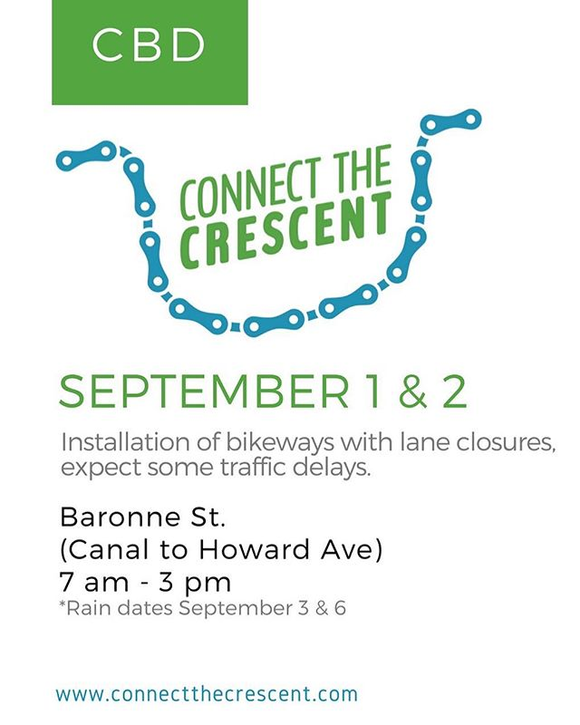 #connectthecrescent installation begins this Saturday September 1st on Baronne Street! You can still sign up to volunteer at www.connectthecrescent.com link in bio 🚲