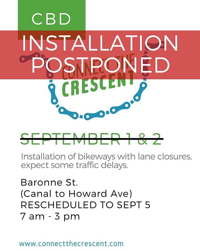 Due to very wet weather forecasted for Labor Day weekend, we will postpone installation work scheduled for this weekend. The materials we will use require dry surfaces to create the protected network that we all want to see downtown. To ensure that installations are successful, we are shifting our schedule.  Installation will resume on Wed, September 5th.