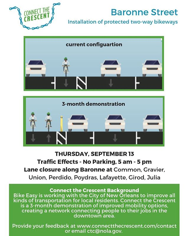 Hey y'all the rain may slow us down but it won't stop us! We'll be back out on Baronne Thursday the 13th. There will be lane closures from 5 am - 5 pm. #connectthecrescent