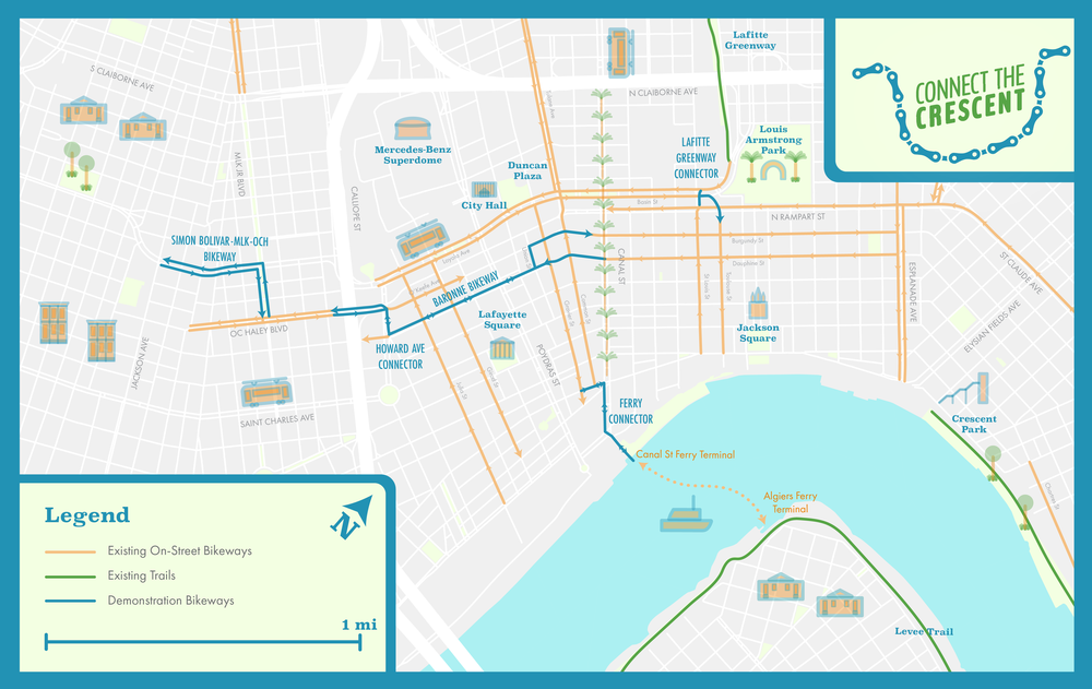 Low-Stress Bikeways in and around downtown New Orleans