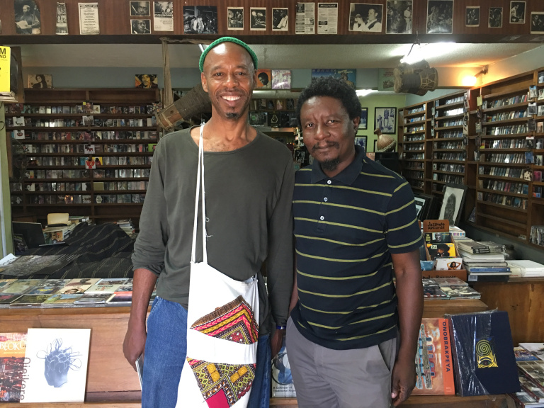 With owner Kunle at the amazing Jazz Hole bookshop, record store and cultural hub, Lagos