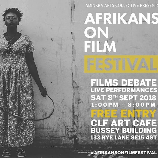 This Saturday. Free African films  The 7th Afrikans on Film festival is back for 2018 with a mutatu-load of films from the African continent and her diasporan family: free entry all day! CLF Art Cafe 133 Rye Lane SE15 4ST Saturday 8 September 1-8pm  Welcome to the 7th Afrikans on Film festival. I'm so happy to be curating a festival I've always loved, and hope you will join us Saturday in the CLF Art Cafe in Peckham. It's a unique opportunity to view documentaries and shorts rarely seen on the big screen, taking viewers into the realms of sci-fi, reparations and smart-phone cinematography. We will also screen 2018 blockbuster Black Panther, which we plan to interrogate and decode with the help of BBC Radio 3's Kevin Legendre. As a musician, I'm so happy to welcome Tunde Jegede who will be playing live kora for us. Community advocate and broadcaster Ester Standford-Xosei and human rights activist Francine Mukwaya will be lending their insights. And we've also got eye- and mouth-watering authentic cuisine.  This Saturday, all roads, streams and rivers lead to #AfrikansOnFilm at the Bussey Building. See you there, my brothas and sistas,  Art Terry x  #africa#blackpanther