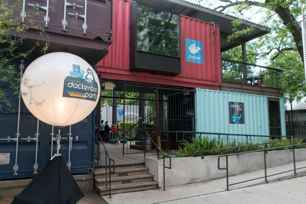 DOCKERCON   For this corporate event, we secured 16 bars on Rainey Street in Austin, Texas, transforming each space into a distinct local district. It was meant to feel as though16 highly memorable mini-events were going on at once, so making sure everything was seamless at each location was a top priority!